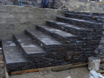 Stonework steps... - Part of a big project, stairs leading to pool. Did retaining wall all around, approx 150m2.  Stonework added to retaining wall.