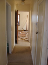 Hallway  & Floor...Before - Uneven walls & painted over wallpaper. Old carpet & original single light bulb light.