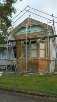 Mt Eden Villa Front - Front gable and windows fully stripped