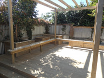 PANNA Woodworks Ltd - functional & great looking bench and raised beds incoporated into deck - our own design:)