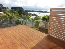 Second floor deck with glass fence-PANNA Woodworks Ltd
