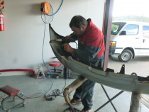 JASON PLASTIC WELDING A BUMPER at Redwood Panel & Paint 2005 Ltd