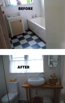 Renovations by Design - Farmhouse ensuite - before and after renovation