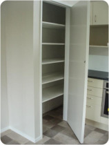 Solid Storage Options - Having good useable space is critical - and that is not so cheap that it falls to bits with heavy things on the shelves.  Take a look at this unit we built.