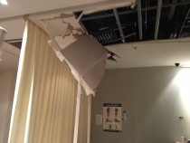 Ceiling Damaged by earthquake at Queensgate Mall