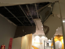 Shop ceiling damaged by earthquake at Queensgate Mall before and after New Ceiling done