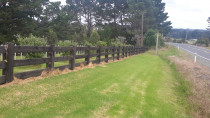 solid timber post and rail fence ,Posts 250x250 Rails 150x50 profiled and rebated into post