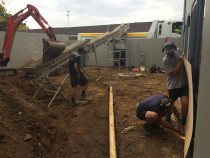 A  Site with difficult access  - Sculptaview Landscaping Ltd - If you have a site with tricky access like this one. You need a company that thinks with a modern, can do style,  as well as keeping safety, ease and productivity at the forefront.