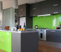 Lime genng glass kitchen splashback by Shower Solutions