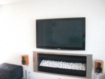 Panasonic THP58V10 - Retro fitted Plasma above gas fireplace, all cabling concealed, total time to complete, 8 hours