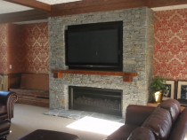 Gibbston Valley Schist Fireplace with Tv by Stone Creations