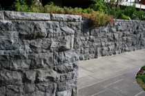 Bluestone Wall & Flamed Basalt Paving by Stone Creations