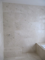 lime stone bathroom pre selected pieces installed - Style with Tile Ltd