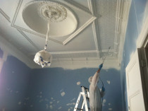 Old Character Ceiling Restoration: spraying by Superior Painting Services