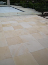 Sandstone Pavers - Pristine Sealer - Sandstone pavers hypo cleaned and sealed with 2 coats of Pristine Sealer
