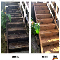 Before and After raw timber steps
