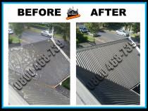 Before and After roof wash & gutter clean