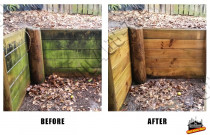 Before and After raw timber retaining wall