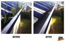 Before and After gutter cleaning