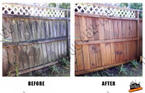 Before and After raw timber fence