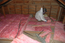 Pink Batts being installed by The Insulation Warehouse