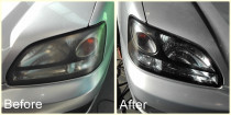Headlights Restored by The Mobile Car Specialists Ltd - Before and after - cloudy headlights. Applying UV protectant coating on them to prevent early corrosion.