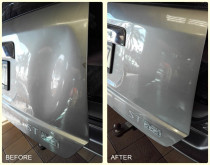 Dent Removal - Before and After - Large dent removed from rear door panel.