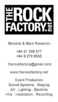 The Rock Factory Business Card - Event Production, Sound PA Systems, Lighting, Stages, AV, Backline - hire and installation