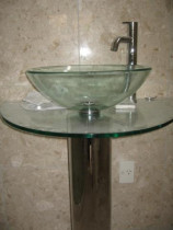 Ensuite Vanity - New glass fishbowl basin and glass shelf.