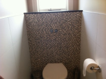 Mosaic feature wall in toilet