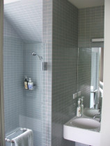 Solid Glass Mosaic Shower by Tile Technix Ltd - Tilers