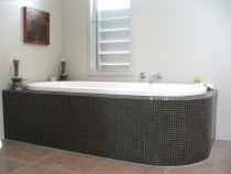 Transparent Glass Mosaic Bath Surround by Tile Technix Ltd - Tilers