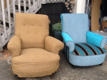 Before and after arm chairs  - Topstitch Upholstery