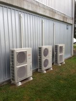 Multiple Units - Vincent Install Ltd - 3x 12KW Fujitsu units mounted using Concrete Pavers & Plastic Riser Feet