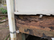 See photo above, internal moisture reading 25%  inspected by Weathertight Home Inspections - Showing the moisture damage th the wall and floor framing, Note that there is no obvious moisture damage, staining or swelling to the Gib or skirtings in the photo above